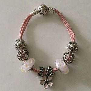 Pandora Pink Bracelet with Charms, Clips, Murano